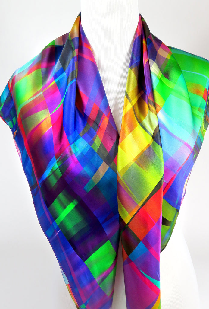 Silk Scarf, Womens Scarf Silk, Bright color Festival Scarf,  36 in Square Silk Satin