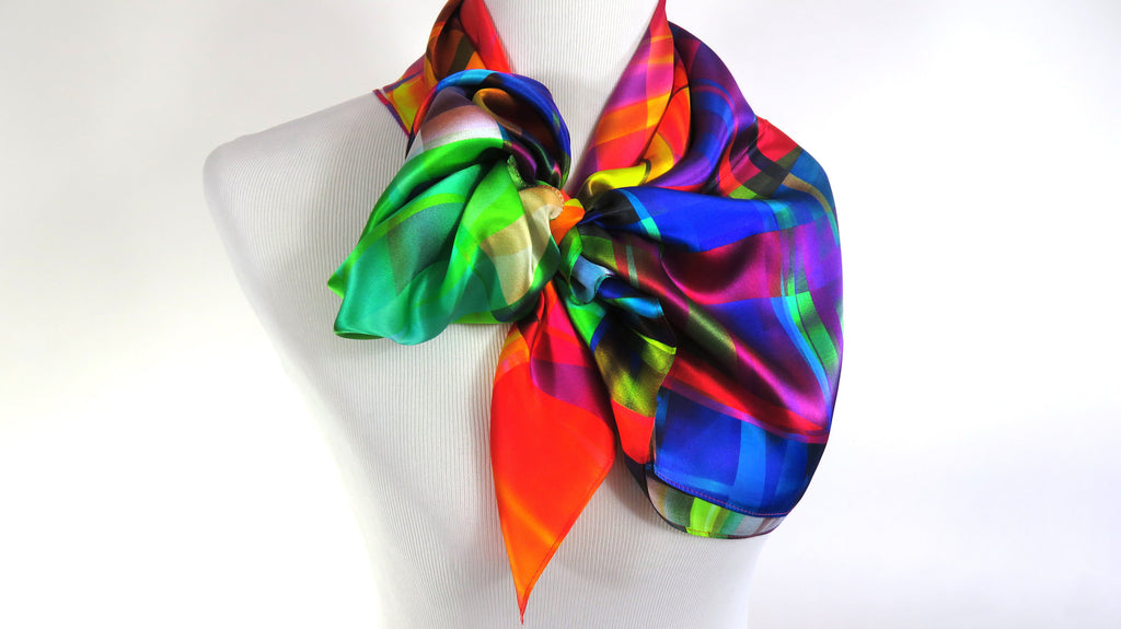 Bright Color Festival Scarf in Silk Satin | ScarvesByEllen