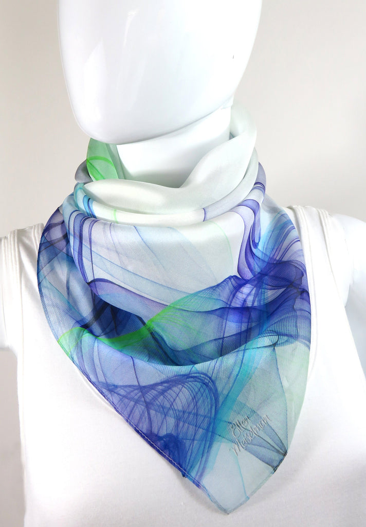 "White Square Scarf with Blue and Green ""Ink in Water"" design. 36"" Silk Chiffon gift for woman, sheer head scarf"