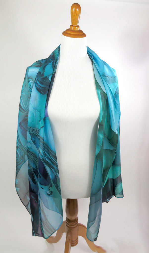 "Blue Green Silk Shawl for women, Wide Silk Scarf 70"" x 26"" sheer blue chiffon wrap, gift for wife, retirement gift, thank you gift, Oceanic"
