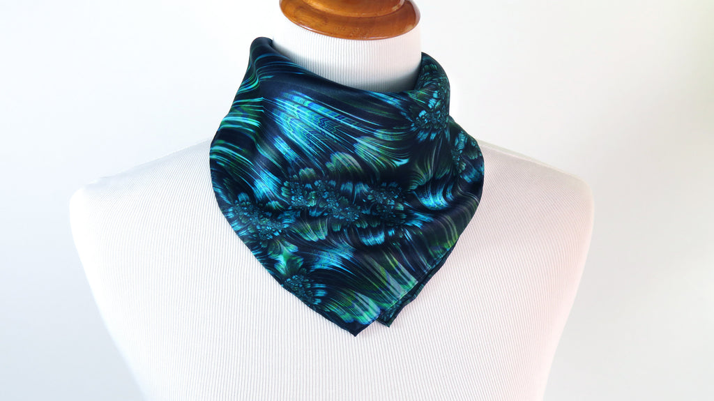 "Small Green Silk Scarf, ""Reaction"", Fractal design, 16"" Square Neckerchief, gifts for her, hand-rolled hem, purse scarf"