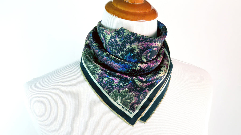 "Small Green Silk Scarf, ""Revel"", Fractal design, 16"" Square Neckerchief, gifts for her, hand-rolled hem, purse scarf"