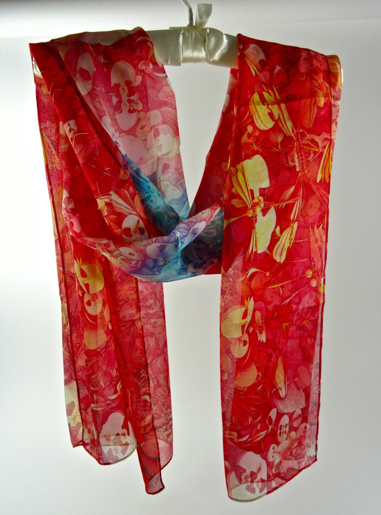 "Long Silk Scarf,  3D fractal ""Garden series"" in Coral, Red & aqua 