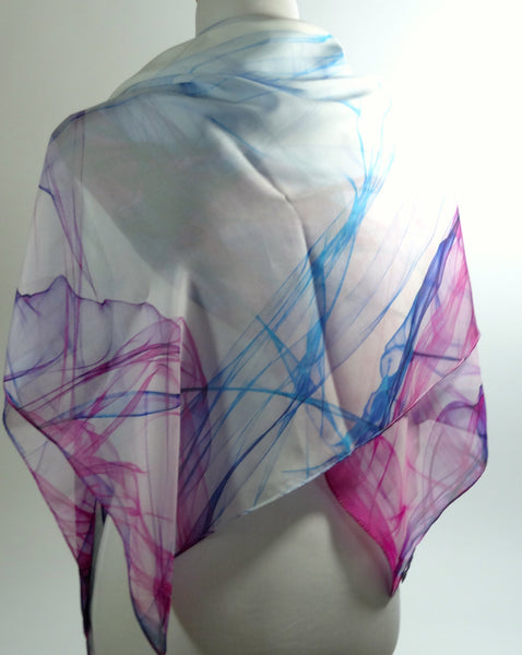 "White Silk Scarf, Blue and Magenta on Chiffon, Light Summer Scarf, Art Scarf White Blue Scarf, gifts for her, gift for woman, ""Ink in Water"""