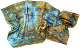 Gold and Blue Silk Scarf, Unique Abstract Scarf - ScarvesByEllen
