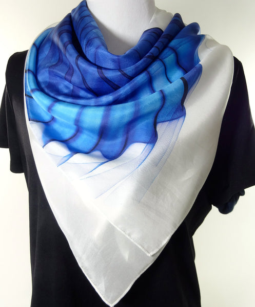 "Silk scarf Wings design, Large silk habotai 51"" scarf, gift box, Abstract Wings on Large Square Blue scarf, ""Wings Series IV"" Birthday gift"