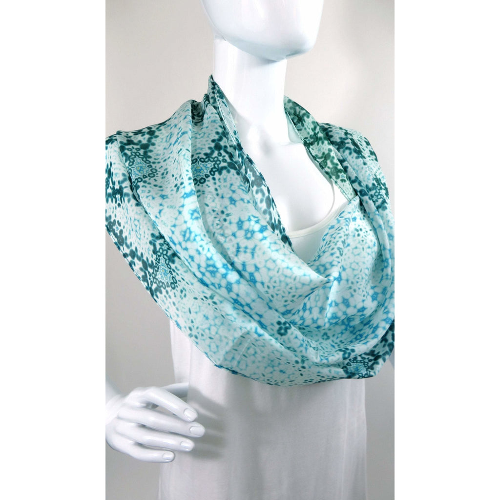 Light Green Silk Scarf Shawl, Long Scarves for Women, Light Shawl Fractal Design, Friendship Gift for Woman, Meditation shawl -ScarvesByEllen