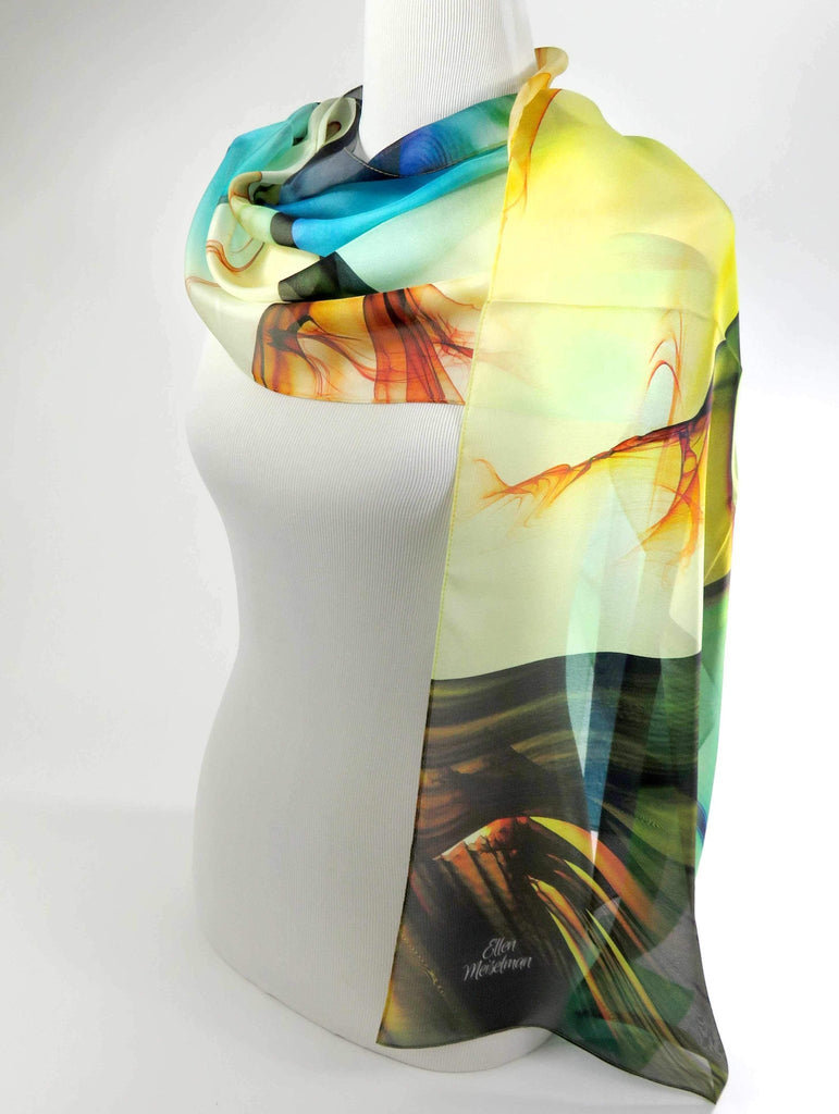 Long Scarf, Silk Chiffon in Yellow Blue Green, womens scarves, gift ideas for women, mothers day gift -ScarvesByEllen