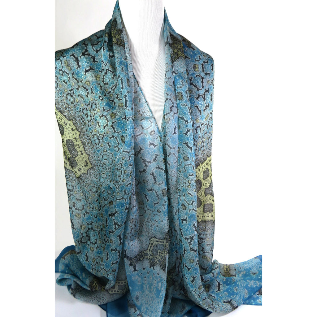 "Long Silk Scarf Shawl, Meditation Shawl, Unique Scarves for Women, Light Blue Gold wrap scarf, Gift for woman, ""Orient"", Fractal, Zen -ScarvesByEllen"