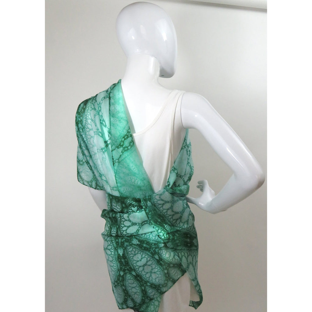 "Long Silk Scarf Shawl, Scarves for Women, Unique scarves. Appreciation Gift for woman, ""Wings of Inspiration"", Green Meditation shawl -ScarvesByEllen"