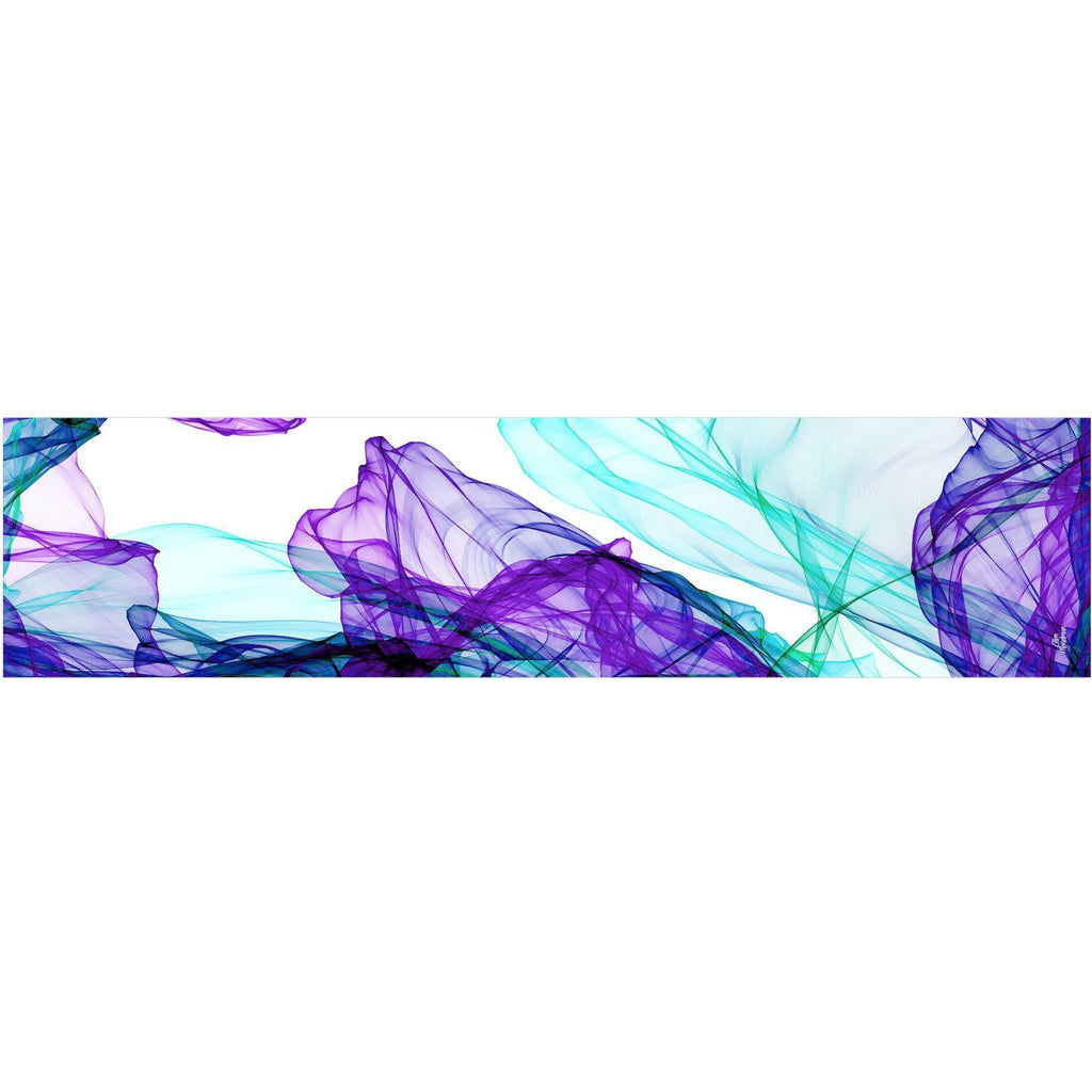 "Long White Silk Chiffon Scarf, violet and aqua ""Ink in Water"" design -ScarvesByEllen"
