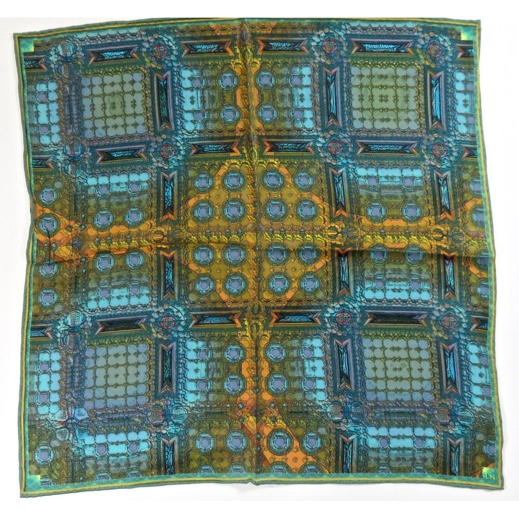 "Math Pocket Square Silk, ""Architectonic 1"" 3D Fractal, Gifts for Him, Science gifts -ScarvesByEllen"
