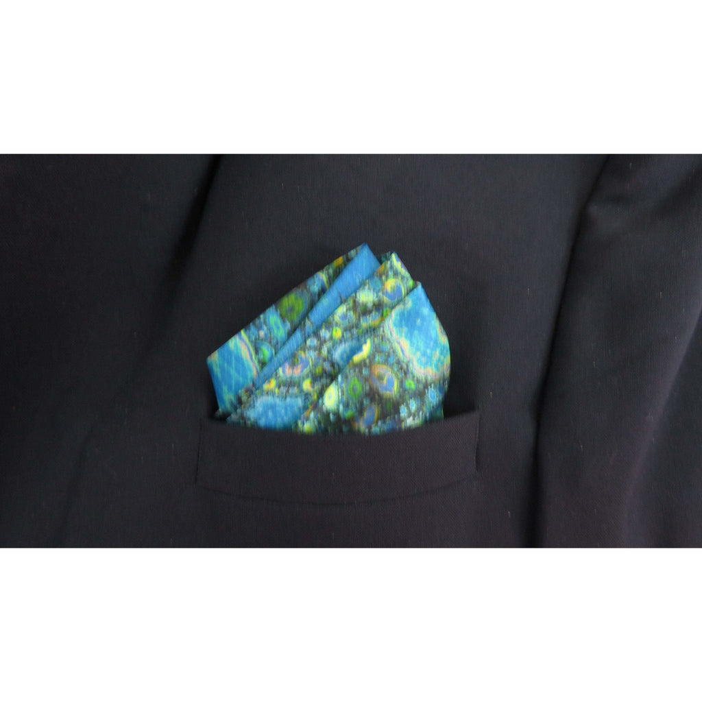 "Mens Gifts, Blue Silk Pocket Square, ""Magic Box Blue"" silk handkerchief, gift for husband, neckerchief -ScarvesByEllen"