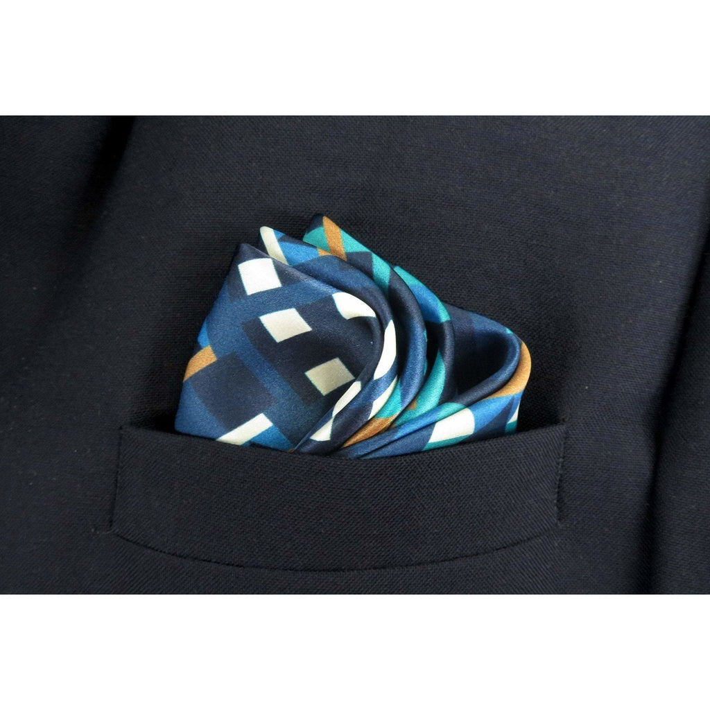 "Mens Gifts, Silk ""Metro"" Pocket Square in Purple Blue Gold, silk handkerchief, style gift for husband, neckerchief -ScarvesByEllen"