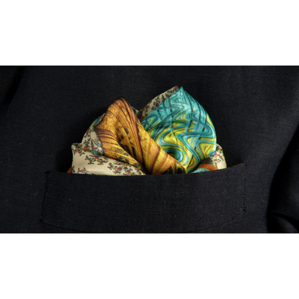 "Mens Gifts, Silk Pocket Square in Ivory, Peach, Aqua, silk handkerchief, ""Carnival Gold"" gift for husband, turquoise -ScarvesByEllen"