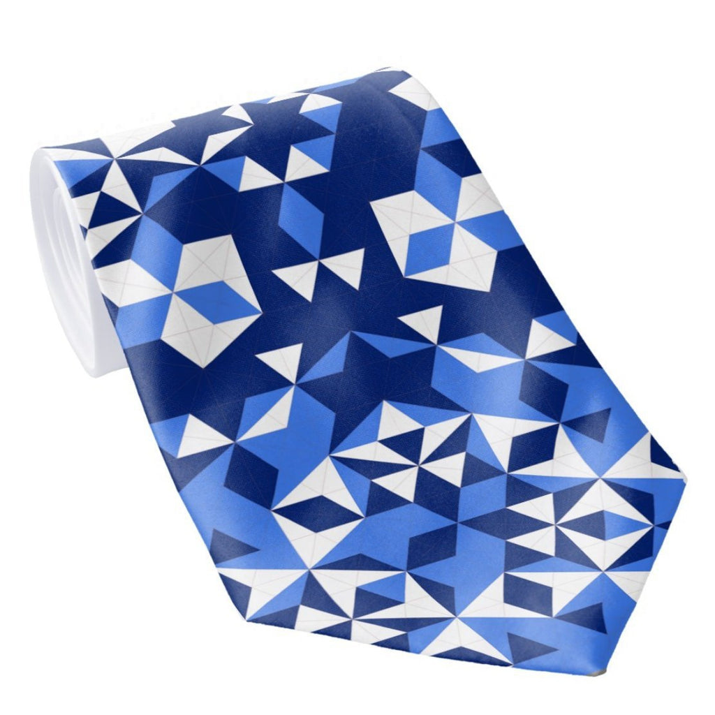 Men's Necktie, Blue Geometric Pattern, Mathematical gifts, Abstract Digital Print on Polyester Tie, unique gifts for men -ScarvesByEllen