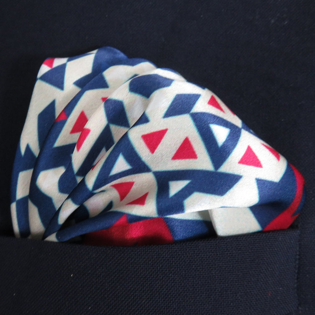 "Mens Silk Pocket Square, Fractal Silk handkerchief, ""Americana I"", unique gifts for Men, Best Man, Boss gift, Boyfriend Husband gift -ScarvesByEllen"