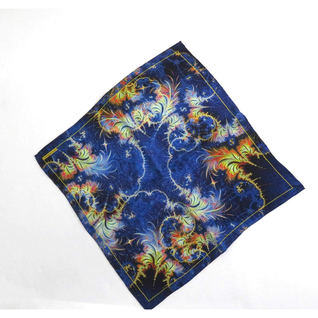 "Mens Silk Pocket Square, Fractal Silk handkerchief, ""Azimuth"", unique gifts for Men, Thank You gift for man, Small Scarf -ScarvesByEllen"
