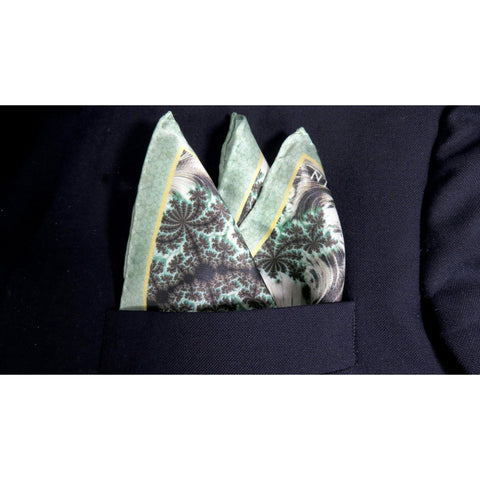 "Mens Silk Pocket Square, Green Silk handkerchief, ""Forest Canopy"" Fractal Design, Unusual gifts for Men, Boyfriend gift, Silk Hankie -ScarvesByEllen"