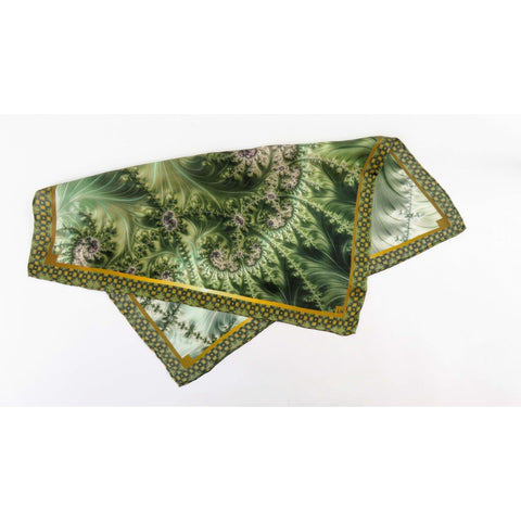 "Mens Silk Pocket Square, Green Silk handkerchief, ""Forest Glen Green"" Fractal Design, Unusual gifts for Men, Boyfriend gift, Silk Hankie -ScarvesByEllen"