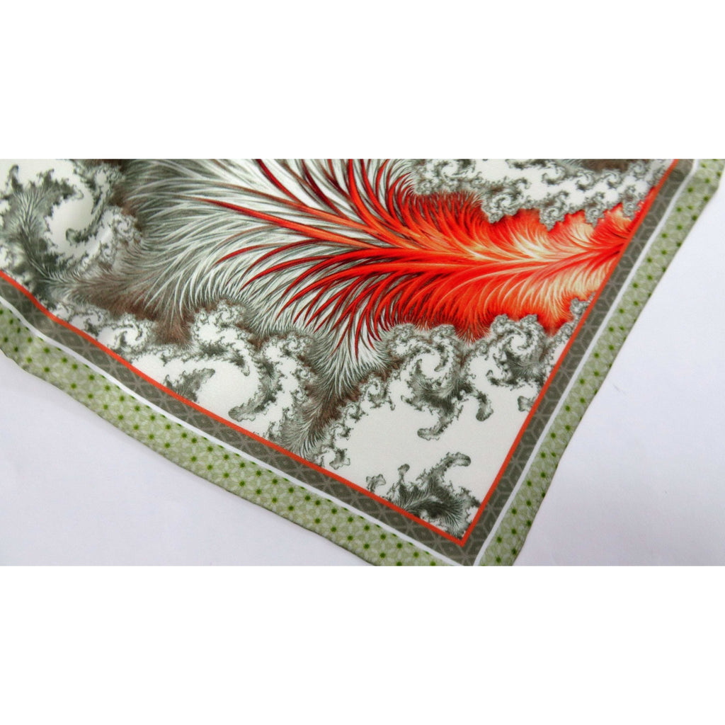 "Mens Silk Pocket Square, Silk handkerchief, ""Tail of the Phoenix"" Fractal Design, Unique gifts for Men, Husband gift -ScarvesByEllen"
