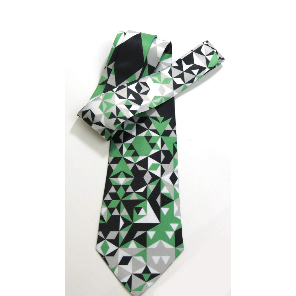 Men's tie, Green and black geometric pattern on white, gifts for men, anniversary gift -ScarvesByEllen