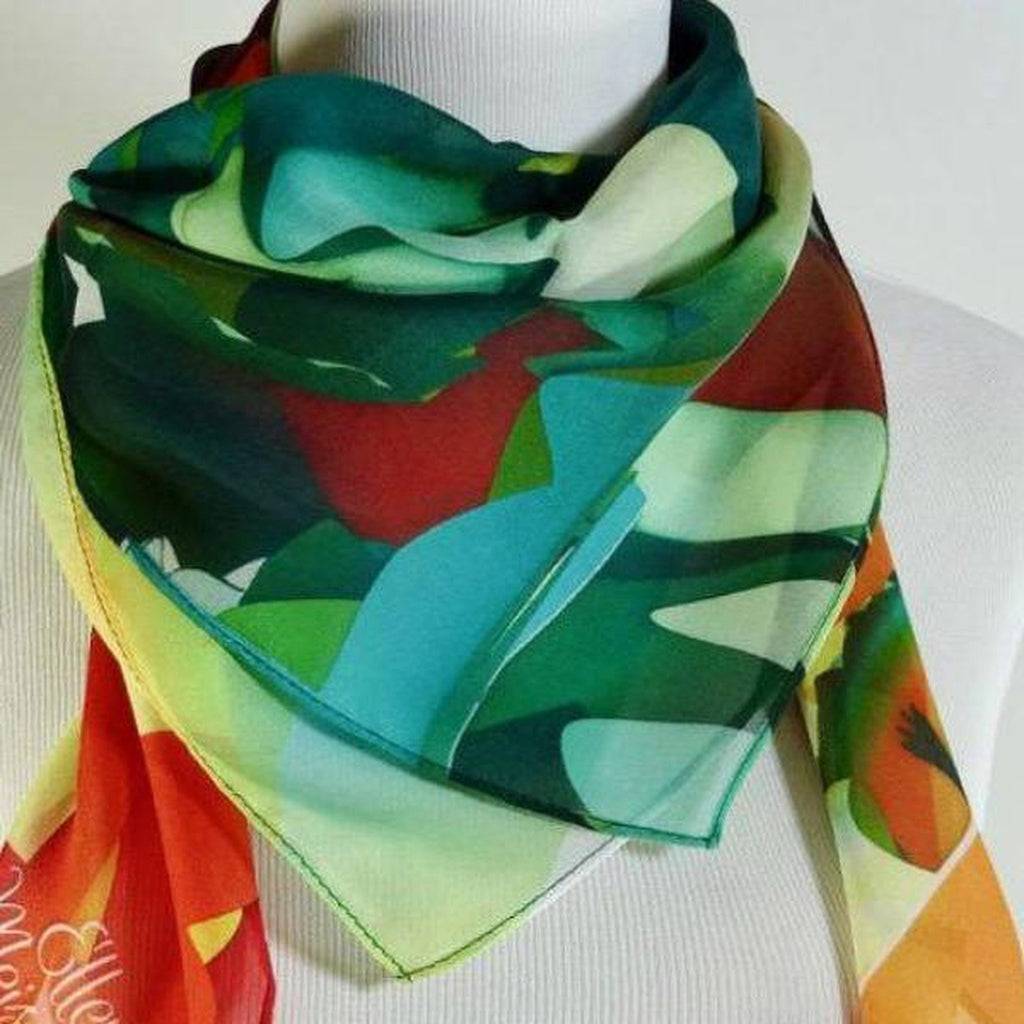 "Orange and Green Silk Chiffon Scarf, 36"" Square -ScarvesByEllen"