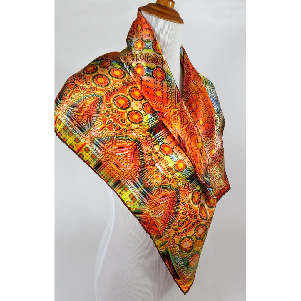 "Peach, orange, blue Silk Satin Scarf with Beaux Arts fractal pattern, ""Architectonic III"" Design, Peach/Blue silk satin hair scarf -ScarvesByEllen"