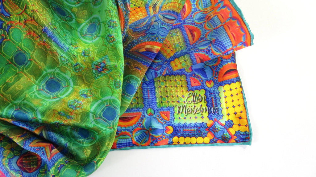 Peacock Green Silk Scarf for women or men. 3D Fractal geometry design, hand-rolled hem -ScarvesByEllen