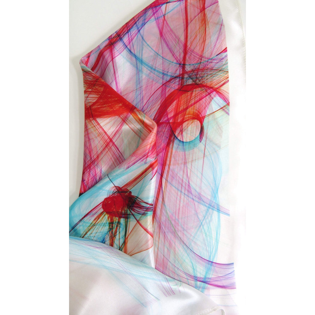 "Pink and White 26"" Silk Scarf, Pink, Red and Turquoise square white scarf, gift for her, graduation gift, ""Mardi Gras"", birthday gift -ScarvesByEllen"