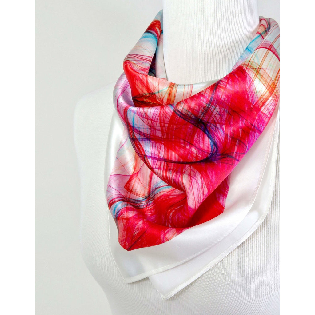 "Pink and White Silk Bandana Scarf, Pink, Red and Turquoise square white scarf, gift for her, graduation gift, ""Mardi Gras"", birthday gift -ScarvesByEllen"