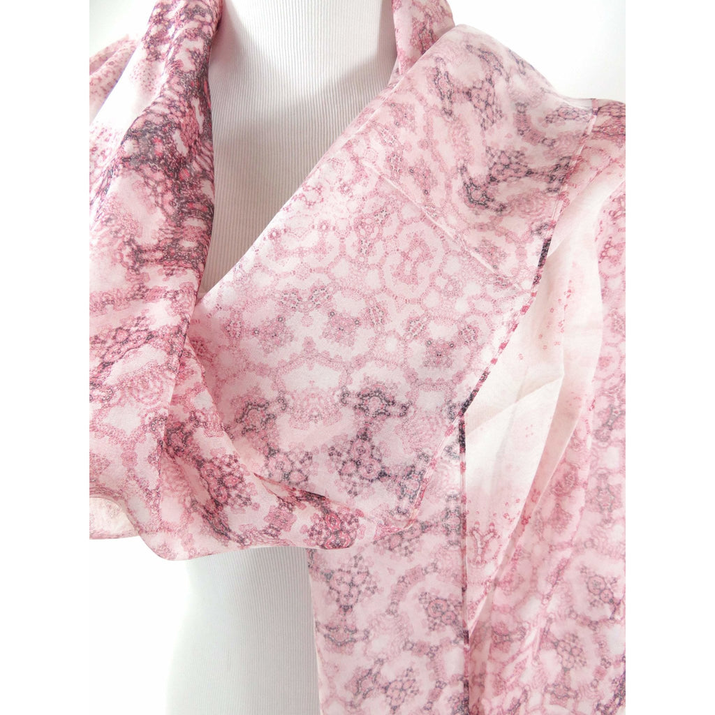 "Pink and White Silk Scarf, Meditation Shawl, Unique Scarves for Women, Gift for woman, Sheer Silk Chiffon ""Orient"", Fractal, Mindfulness -ScarvesByEllen"