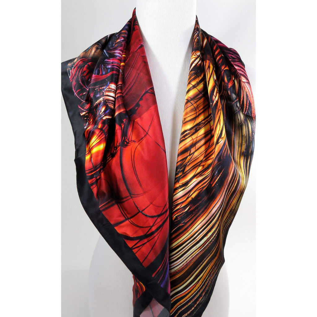 Red and Gold Silk Scarf, Womens Square Scarf Silk, 3D Fractal Festival scarf, Trippy Psychedelic Gold Silk Scarf Art Silk, tapestry -ScarvesByEllen