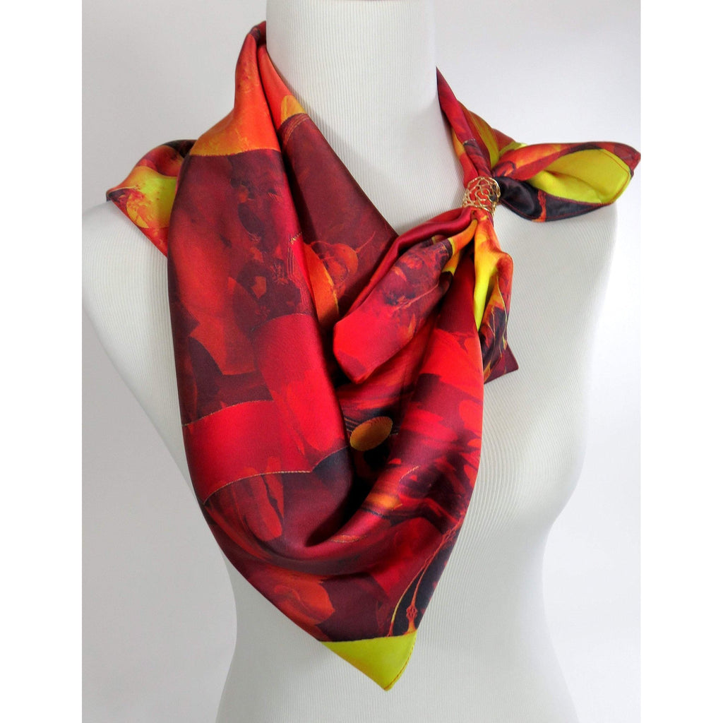 "Red Scarf, Unique 36"" Square Silk Scarf for woman or man, 3D Fractal design, suit scarf, shoulder scarf, kente scarf, unusual scarf for man -ScarvesByEllen"