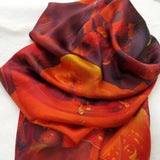 "Red Square Silk Satin Scarf ""Fire of the Heart"" -ScarvesByEllen"