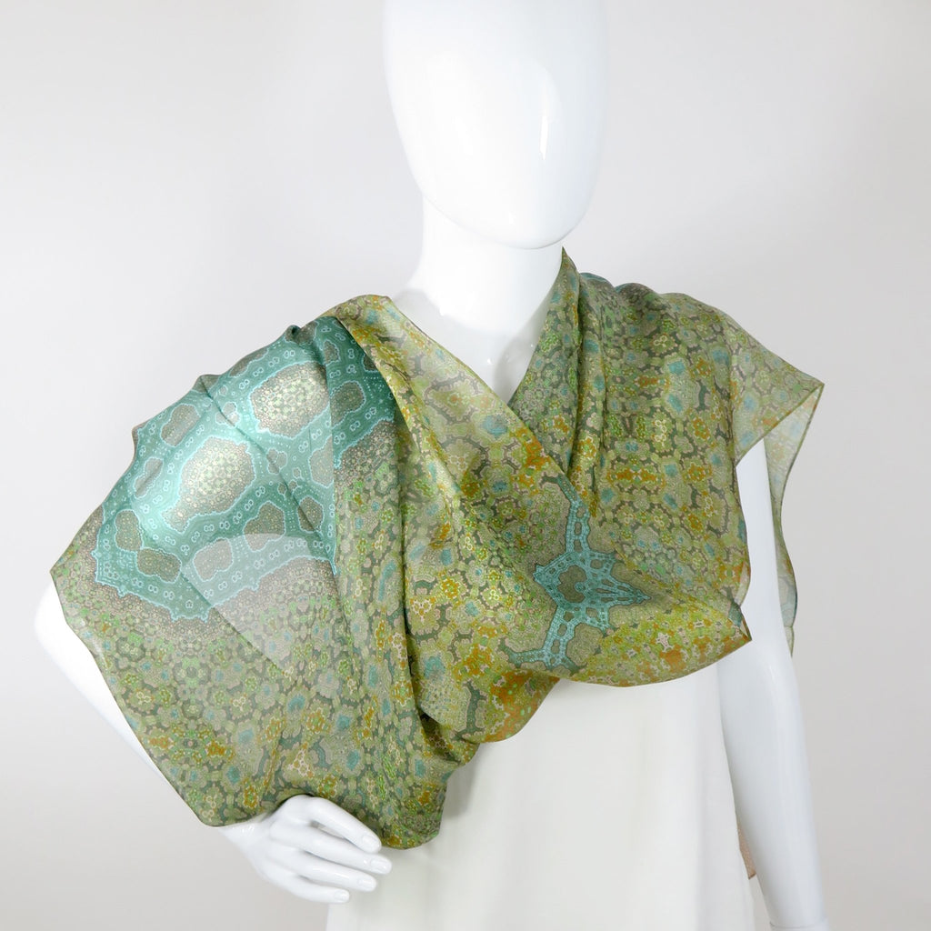 "Sage Green Shawl, Silk Scarves for Women, Unique Gifts for women, ""Orient"", Meditation shawl, Fractal -ScarvesByEllen"