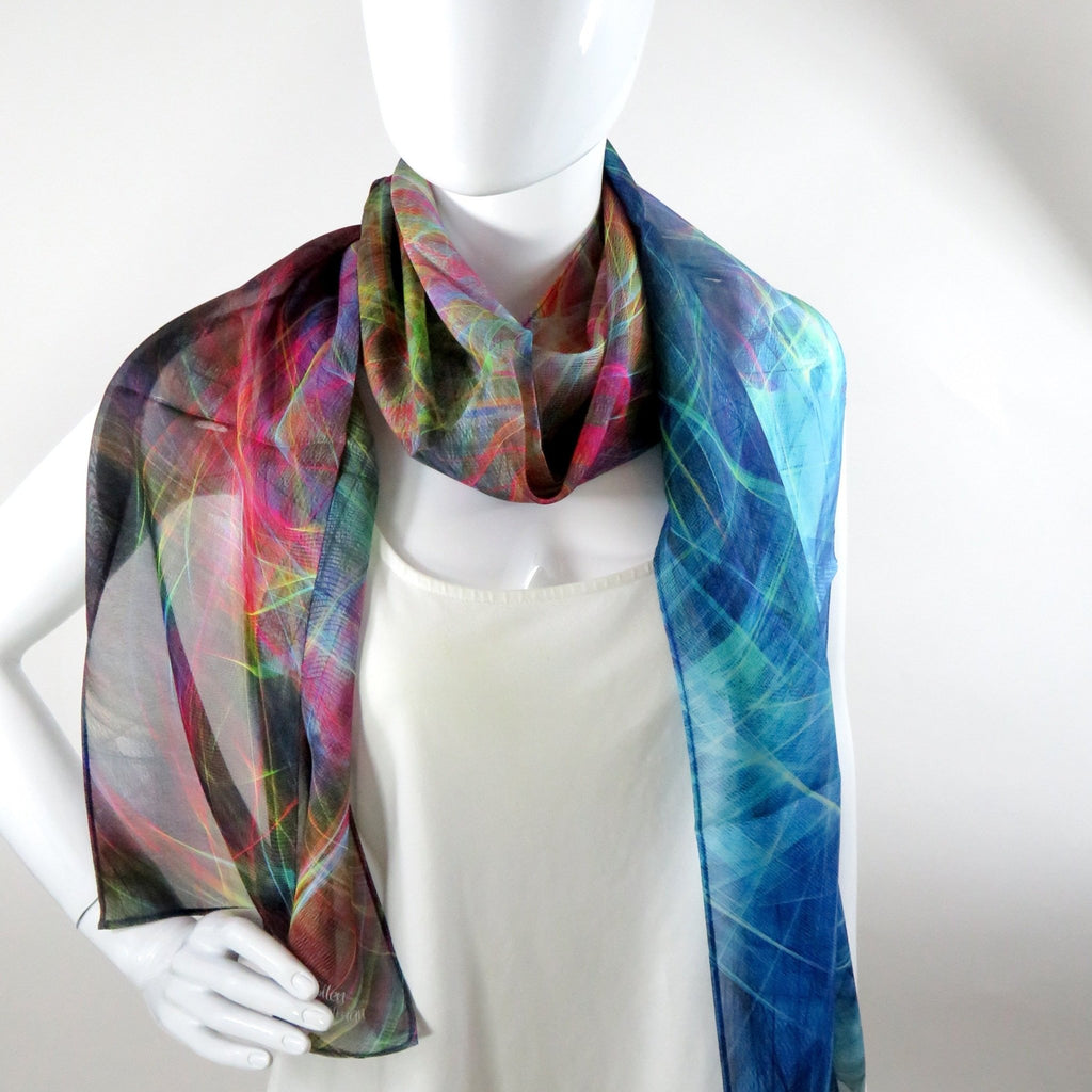 Scarf for Woman, ombre multicolor light silk scarf, unique gift for woman, Festival clothing, sheer silk chiffon shawl -ScarvesByEllen