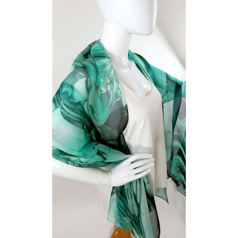 "Sea Green Wide Silk Shawl 70"" x 26"" sheer green scarf for women, gift for her, light shawl, gift for wife -ScarvesByEllen"