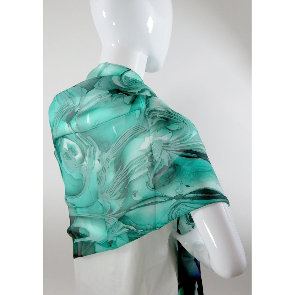 "Sea Green Wide Silk Shawl 70"" x 26"" sheer green scarf, gift for her, light shawl, gift for wife, Silk Scarf for women -ScarvesByEllen"