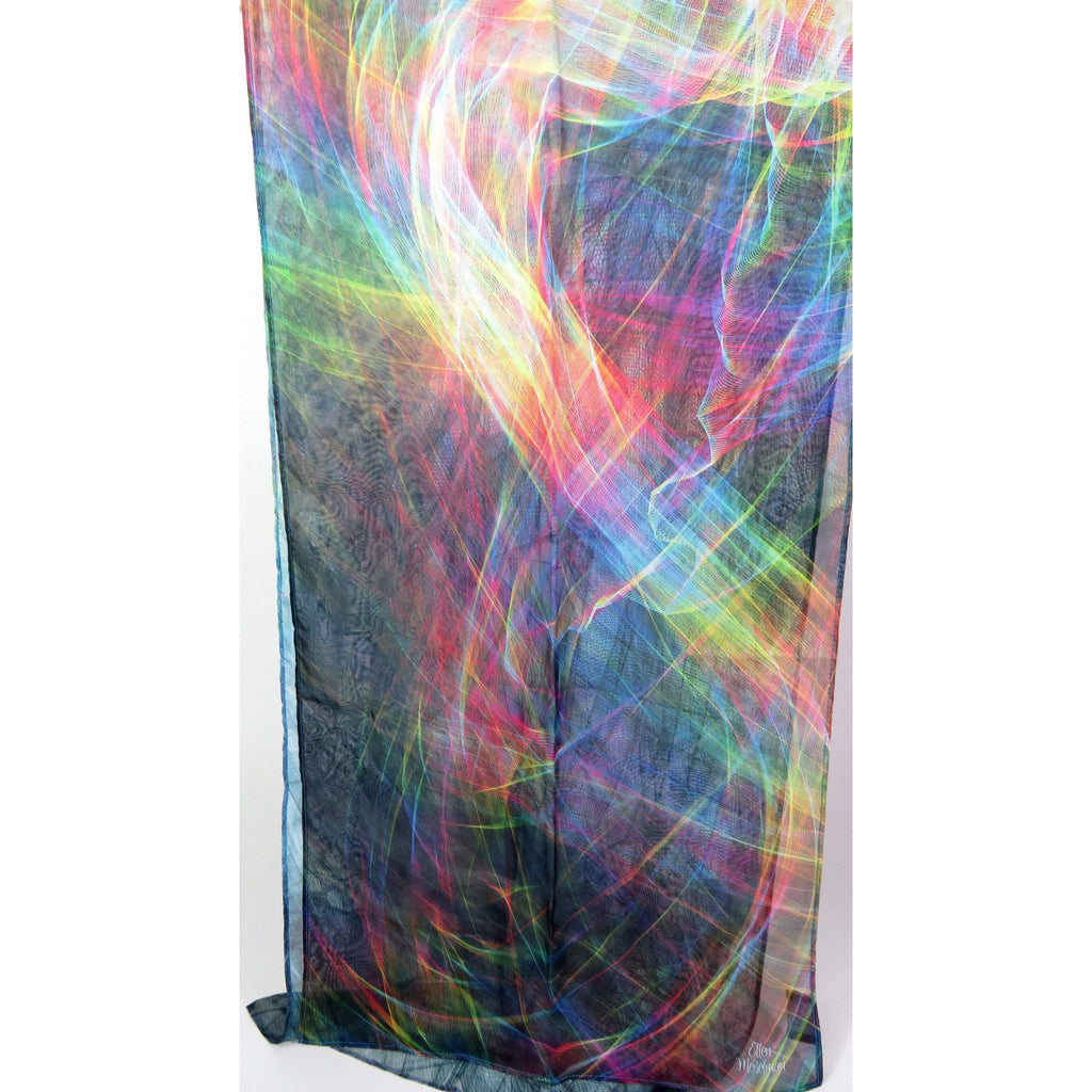 Silk Chiffon Scarf for Woman, ombre multicolor light silk scarf, unique gift for woman, translucent wall hanging, psytrance -ScarvesByEllen
