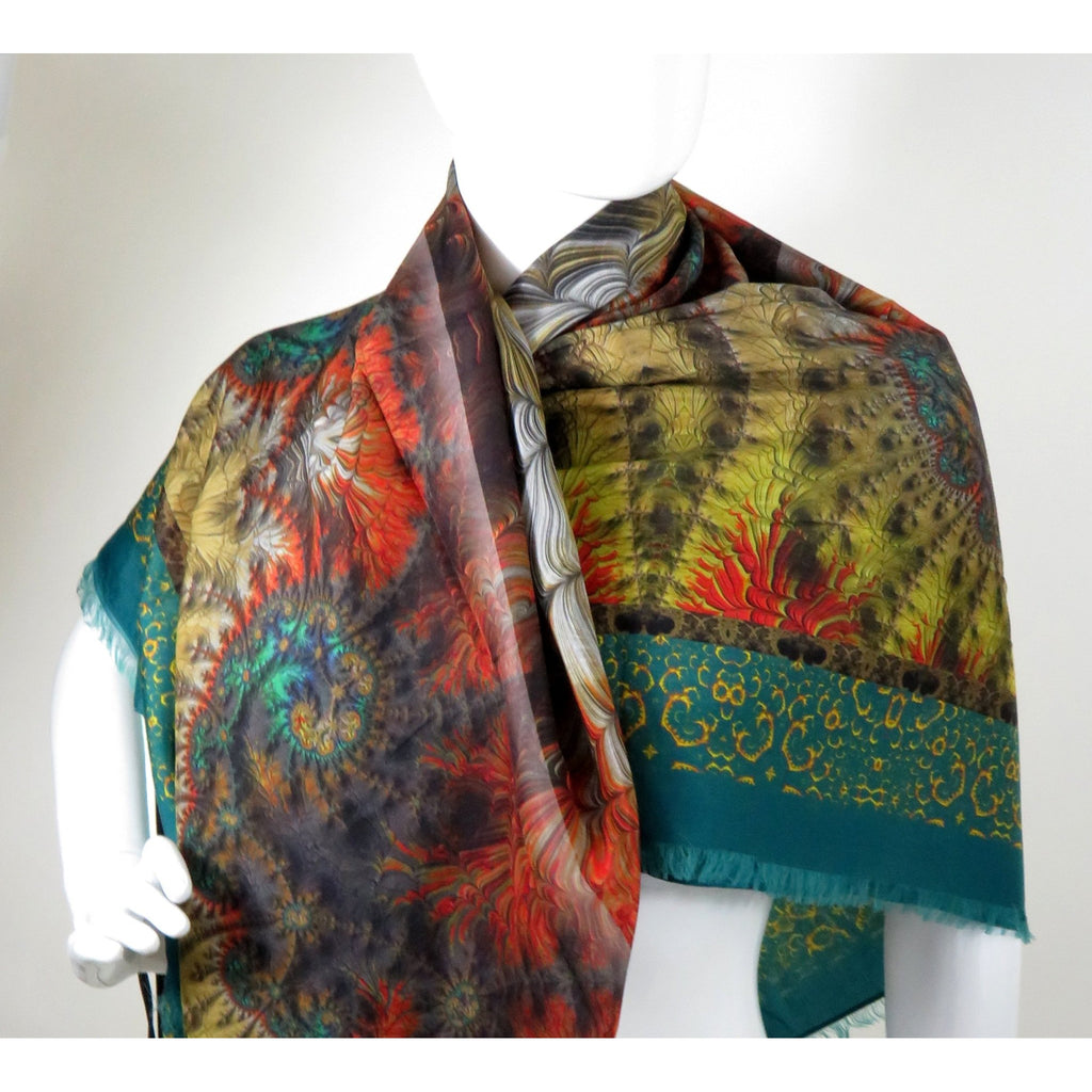 "Silk-Cotton Shawl in Green, Red, Rust, Gold, 51"" Square Shawl, gift for woman, Fractal Ethnic scarf, Tribal , Fringed on two sides -ScarvesByEllen"