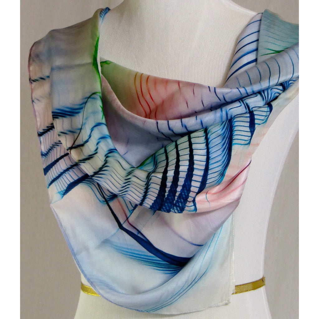 "Silk Habotai Square Scarf, ""Wings Series 3"" in Blue Red Green -ScarvesByEllen"