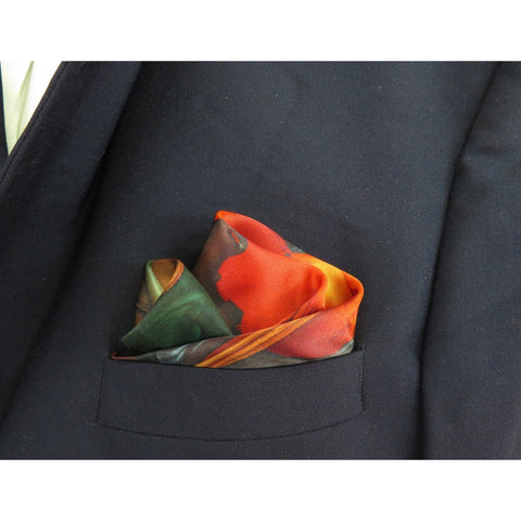 "Silk Pocket Square, ""The Sweet Potato's Tale II"" silk handkerchief, gifts for men, small neckerchief -ScarvesByEllen"