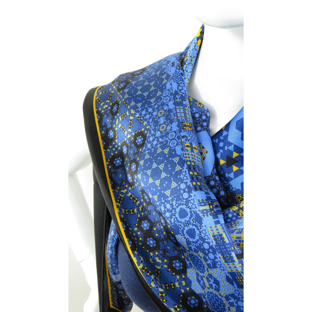 "Silk Satin Scarf for Woman, 36"" Square Double-sided Tasseled Scarf in Blue, Black and Gold, Birthday Gift -ScarvesByEllen"