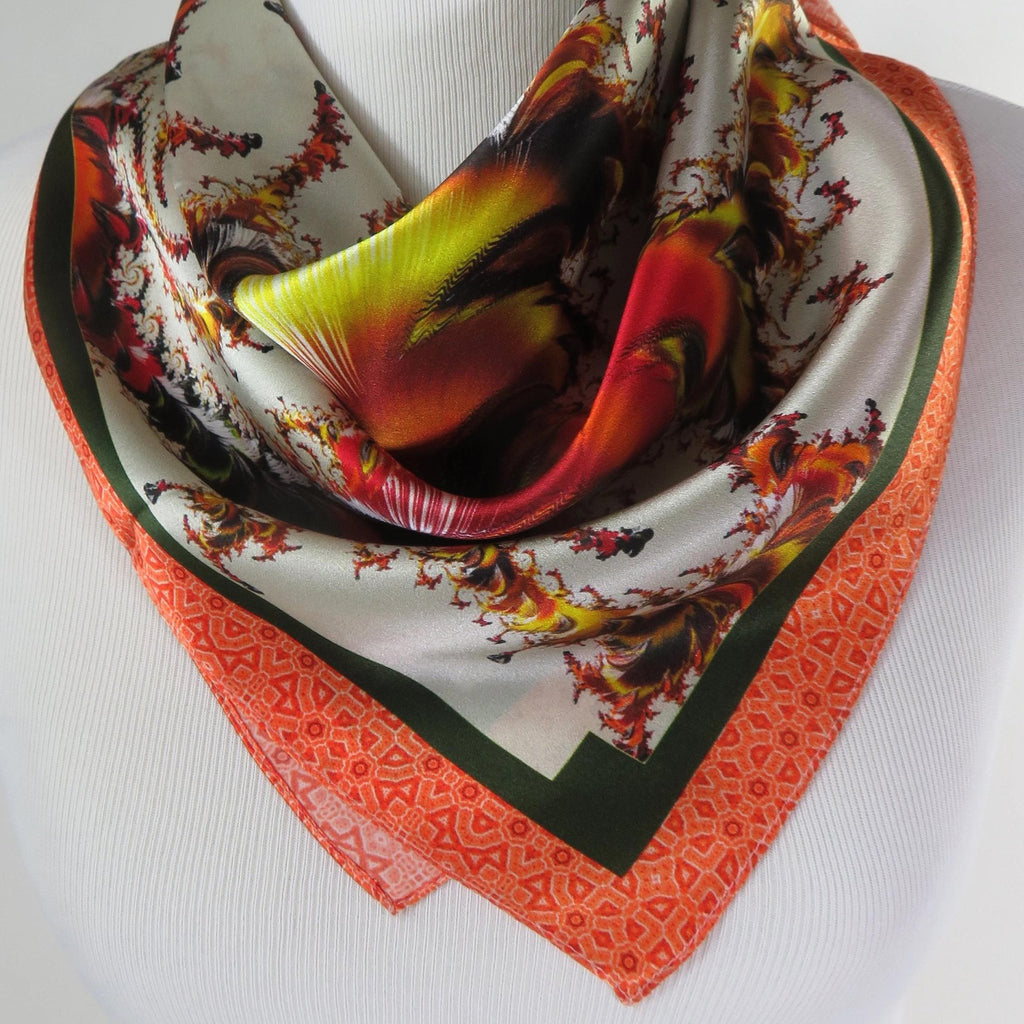 "Silk Scarf, 26"" Silk Bandana Kerchief, Gifts for Women, ""Versailles"" Design -ScarvesByEllen"