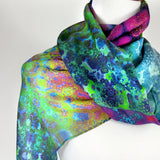 Silk Scarf for Woman, Jeweltones scarf, unique gift for woman, thank you gift -ScarvesByEllen