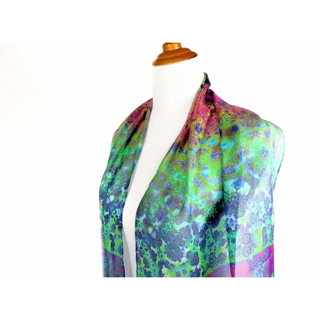 Silk Scarf for Woman, Jeweltones spring scarf, unique gift for woman, thank you gift, light chiffon scarf -ScarvesByEllen