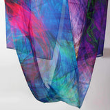 Silk Scarf for Woman, ombre multicolor light silk scarf, unique gift for woman, fractal scarf, Festival clothing, silk chiffon shawl,