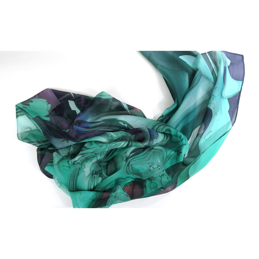 "Silk Scarf for women, Sea Green Wide Silk Shawl 70"" x 26"" sheer green scarf, gift for her, light shawl, gift for wife -ScarvesByEllen"