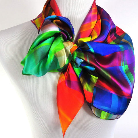 Silk Scarf, Womens Scarf Silk, Bright color Festival Scarf, 36 in Square Silk Satin -ScarvesByEllen